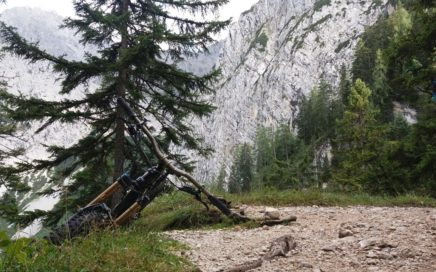 Ein kleines Holzbankerl markiert den Traileinstieg,